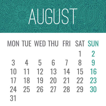 August year 2020 vector monthly calendar with lacy doodle ornate hand drawn design. Week starting from Monday.