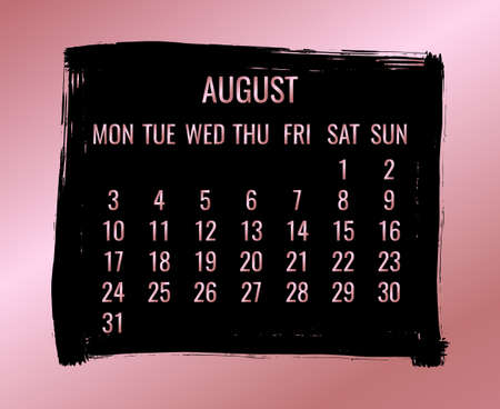 August year 2020 vector monthly modern calendar. Week starting from Monday. Contemporary black brush stroke design over rose golden background.
