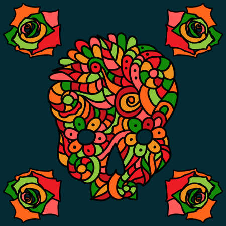 Day of The Dead doodle skull with floral ornament and four roses, autumn colors over dark background.