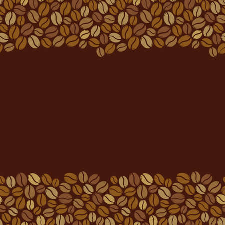 Roasted coffee beans blank square dark brown frame. Graphic menu template vector illustration. Vecteurs