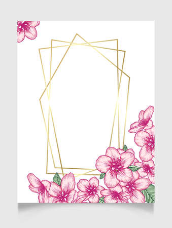 Vector botanical floral wedding invitation elegant card template with pink apple flowers and golden frame. Romantic design for greeting card, natural cosmetics, women products.