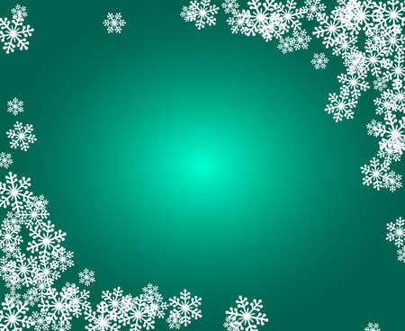 Christmas snowflakes blank frame vector illustration. Greeting card green winter background with copy space. Happy New Year. Horizontal format.