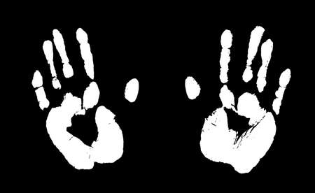 Print of human hands. Palms imprint in white isolated over black. Vector grunge illustration.