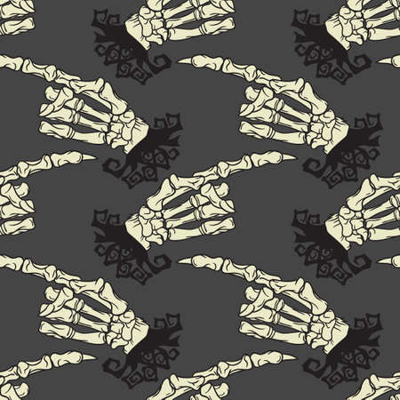Skeleton hand vector Halloween seamless pattern. Design background for party poster. Hand drawn cartoon illustration. Objects isolated over gray.