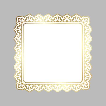 Golden shiny glowing ornate square frame isolated over light gray. Gold metal luxury elegant blank border. Vector background illustration template. Illustration
