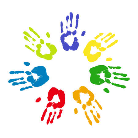 Colorful prints of human hands. Unity and friendship concept. Multicolor palm imprints isolated over white. Vector grunge illustration. Ilustración de vector