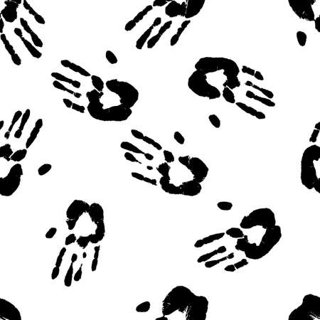 Prints of human hands seamless pattern. Palm imprints background in black and white. Vector grunge backdrop illustration.