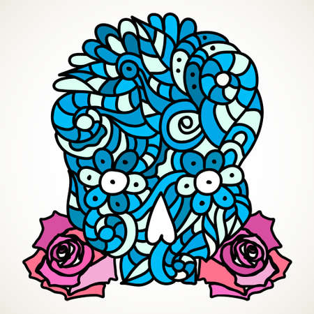 Day of The Dead or Halloween doodle blue skull with pink roses. Hand drawn vector illustration isolated over white.