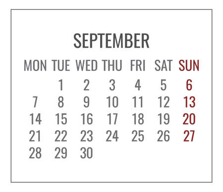 September year 2020 monthly plain minimalistic white calendar. Week starting from Monday.