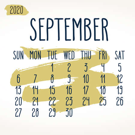 September year 2020 monthly calendar. Hand drawn paint stroke artsy design over white background. Week starting from Sunday.