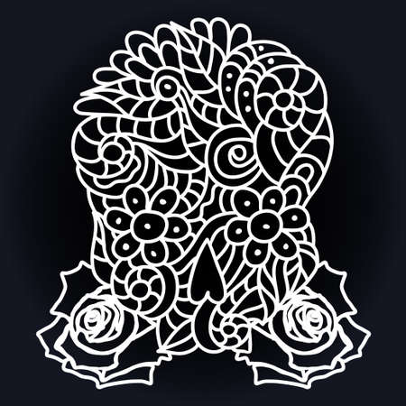 Day of The Dead doodle skull with floral ornament and roses in white over black. Illustration