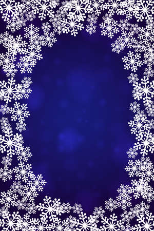 Christmas snowflakes blank frame vector illustration. Greeting card winter dark blue background with copy space