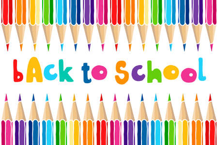 Hand drawn vector doodle Back to School words and multicolor crayon pencils isolated over white background. Education greetings illustration.