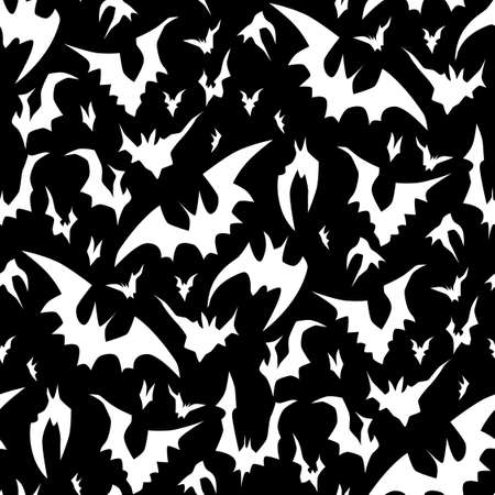 Flying bats vector Halloween seamless pattern in black and white. Design background for party poster. Hand drawn cartoon illustration.