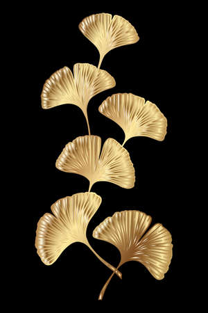 Ginkgo or Gingko Biloba golden branch with leaves. Nature botanical gold vector illustration, decorative metal graphic isolated over black.