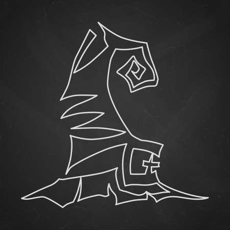 Witch hat with buckle. Hand drawn Halloween celebration design element symbol. Vector contour chalk illustration in white over black chalkboard.