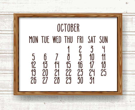 October year 2020 vector monthly calendar. Hand drawn text in a wooden frame over rustic distressed light brown and white wood background. Week starting from Monday.