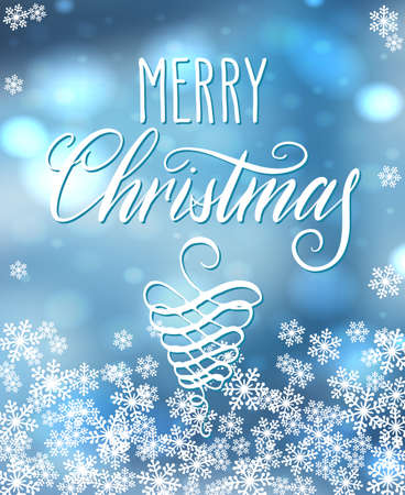 Handwritten Christmas greetings, modern festive calligraphy lettering for postcards in light blue snowflakes frame. Holiday season design, vector illustration.
