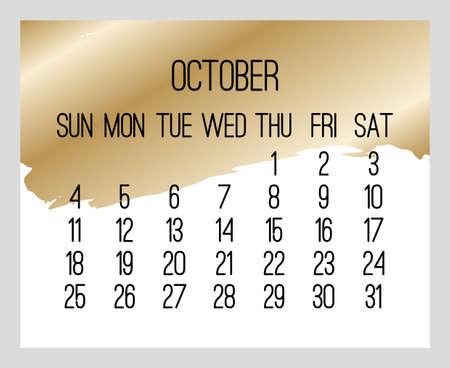 October year 2020 vector monthly modern calendar. Contemporary golden brush stroke design over white background. Week starting from Sunday.
