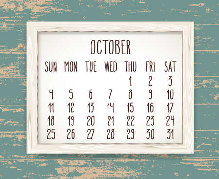 October year 2020 vector monthly calendar. Hand drawn text in a wooden frame over teal rustic distressed wood background. Week starting from Sunday.