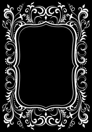 Elegant floral ornamental blank frame in white isolated over black. Victorian baroque border vector background illustration.