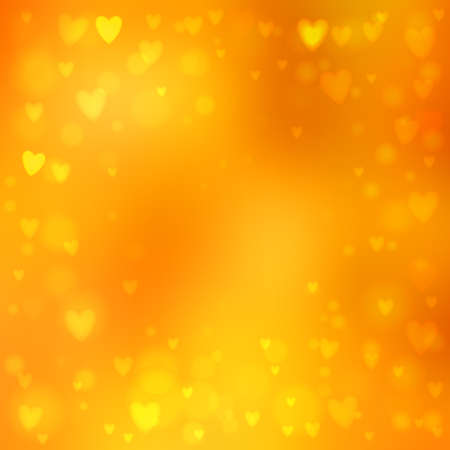 Abstract square blur orange background with small heart-shaped lights over it.  イラスト・ベクター素材
