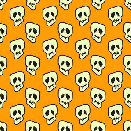 Vector Halloween doodle skulls seamless pattern. Design background for party poster. Hand drawn cartoon illustration. Objects isolated over orange. Stock Illustratie