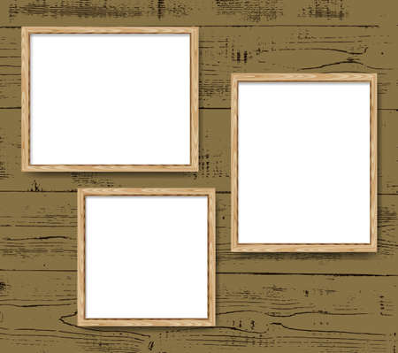 Realistic minimal blank wood frames set over brown background. Wooden border vector illustration.