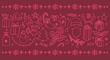 Set of vector Christmas hand drawn doodle elements in pink. Santa, tree, reindeer, snowman, snowflakes, gifts, decorations, holly, candle, stars.