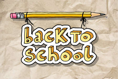 Hand drawn doodle Back to School words hanging on a pencil over brown crumpled paper. Vettoriali