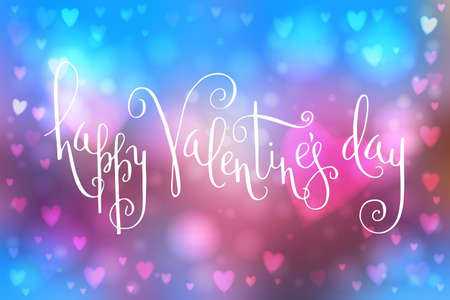 Abstract smooth blur blue and pink background with heart-shaped lights over it and hand written Valentine's day greetings.