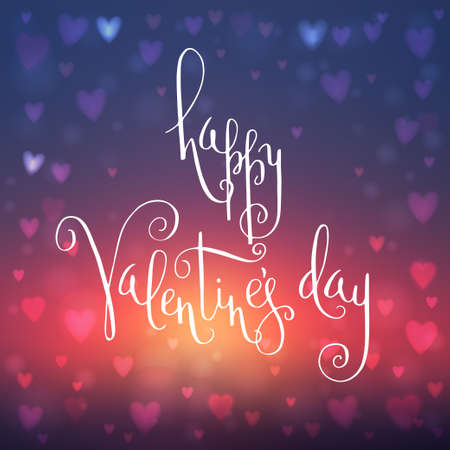 Square abstract blur blue and red background with heart-shaped lights over it and hand written Valentine's day greetings. Vector illustration.
