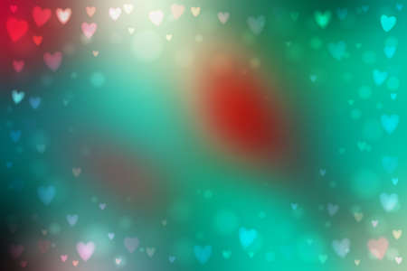 Abstract smooth blur green and red background with small heart-shaped lights over it.