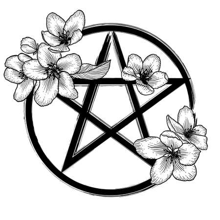 Ornate floral pentagram, magic occult star symbol with flowers. Vector illustration in black isolated over white.