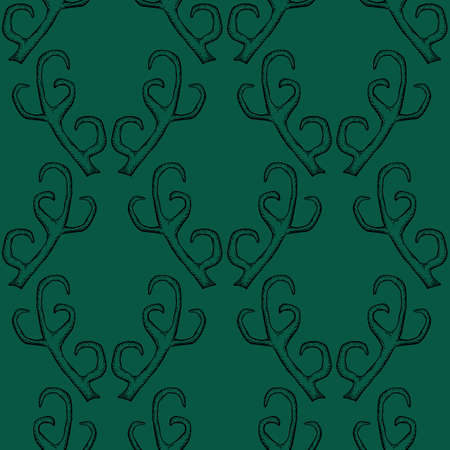 Green seamless pattern with deer antlers. Vector background illustration. Nature wildlife animal backdrop.