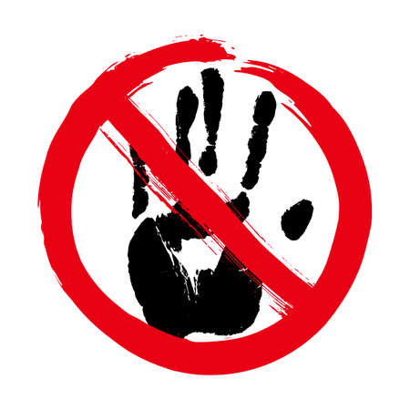 Do not touch concept. Print of a human hand in red prohibition stop circle. Palm imprint in black isolated over white. Vector grunge illustration.