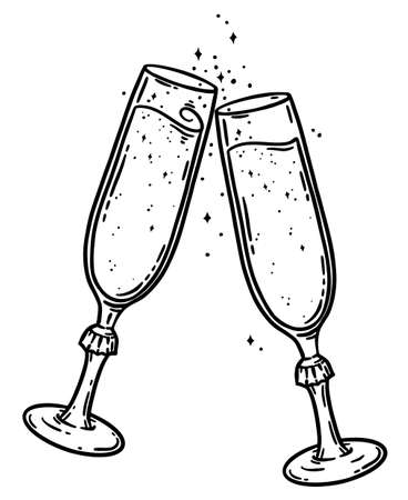 Pair of flute champagne glasses hand drawn vector illustration. Restaurant alcohol drink celebration design. Outline graphic isolated over white background.