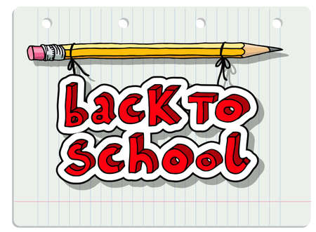 Hand drawn doodle Back to School words hanging on a pencil over lined notebook sheet.
