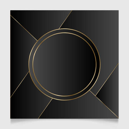 Golden and black shiny glowing blank frame. Gold metal luxury blank round border. Vector background illustration template.