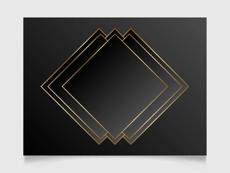Golden and black shiny glowing blank frame. Gold metal luxury geometric border. Vector background illustration template.