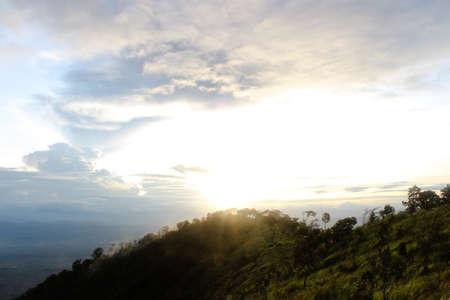 Beautiful sunset at the high mountain Stock Photo