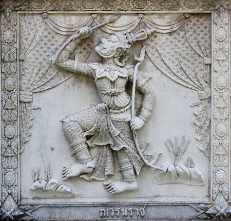 Ramayana relief sculpture at Thai temple