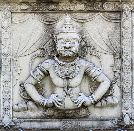 Ramayana relief sculpture at Thai temple Stock Photo - 18309989
