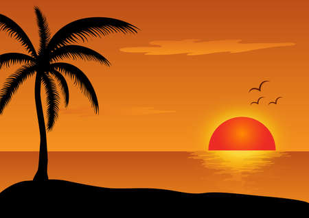 sunset at sea illustration