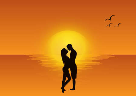 love scene at sunset illustration Stock Vector - 19758063