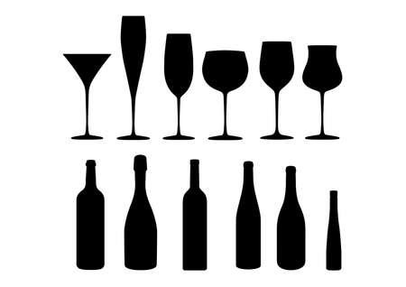 slanted: vino champ�n alcohol icon set Vectores