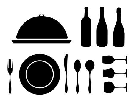 place mat: dinning icon set