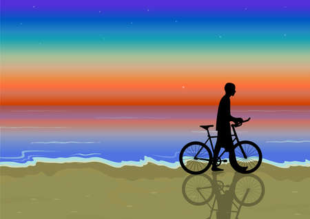 bike near the  beach at sunset Vector