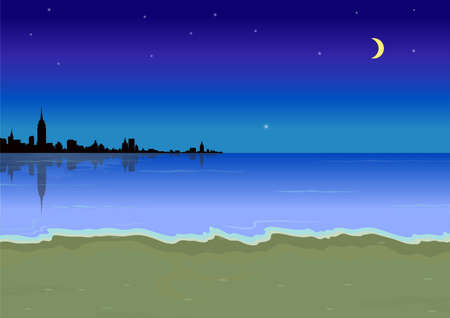 beach at night Stock Vector - 20298487
