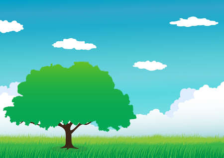 Green mountain with tree and cloud Illustration